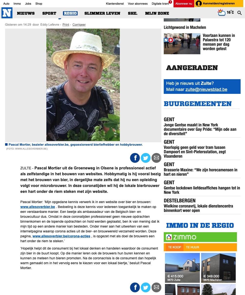Het Nieuwsblad : corona acties